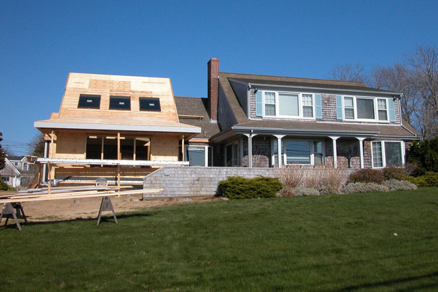 Cape Cod addition during construction