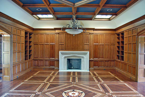 Fireplace and bult-in book cases